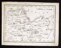 c. 1830 Perrot Tardieu Map Cotes du Nord St. Brieuc France Miniature Antique Map