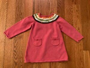 GYMBOREE Gorls 3T Pink Cotton Sweater Dress w/ Stripe & Button Yoke & Rolled Hem