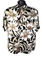 Puritan Mens Size S Hawaiian Shirt Floral Print Beige Black