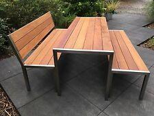 Edelstahl-Gartenmöbel Tisch + 2 Bänke Cumaru