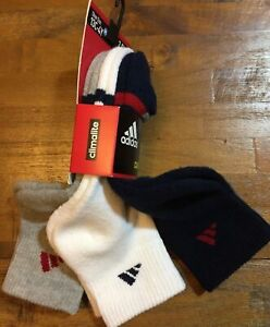 ADIDAS YOUTH CUSHIONED CLIMALITE QUARTER CREW SOCKS Medium Shoe Size 13C-4Y NEW
