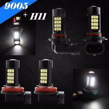 Combo H11 9005-HB3 Samsung LED 42 SMD White 6K Headlight Light Bulb Hi Low Beam