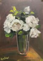 Print of Original oil painting art flower roses floral impressionism shabby chic