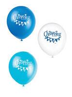 8 X Hübsche Baby Jungen Taufe Luftballons Partydekorationen Blau & Weiß