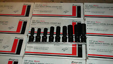 "SNAP ON 3/8"" drive METRIC DEEP IMPACT SWIVEL SOCKET SET 6 point 9 piece"