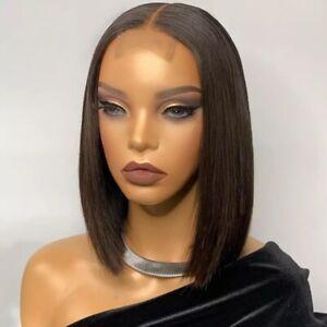 8A 150 Density Unprocessed Brazilian 2x6 Lace Closur straight Bob Human Hair Wig