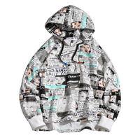 Mens Printed Hoodie Streetwear Pullover Hip Hop Long Sleeves Casual Sweatshirt