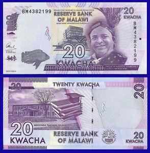 Malawi P63, 20 Kwacha, fish, boat / college, books, mortarboard UNC see UV image
