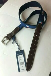 Vineyard Vines Sz 42 Canvas Santa Mens Whale Belt Blue Christmas Holidays NWT