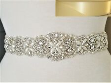 Clear Rhinestone Pearl Wedding Bridal Dress SASH BELT = 17 inch long = IVORY