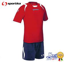 10  COMPLETI CALCIO CALCETTO Man. corta  set Lione Sportika col 155 rosso blu