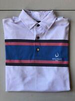 FootJoy Golf Polo Mens Short Sleeve Size Medium White Striped Pink/Blue/Black