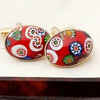 Vintage CZECH 1970s Red Millefiori Glass - Oval Gold Plated Cufflinks #2