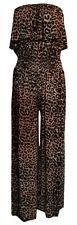 New Ladies Brown Leopard Wide Leg Frill Palazzo Bandeau Jumpsuit Plus Size 16/18
