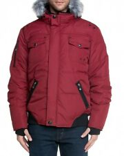 Point Zero Men's Down Bomber Style Hooded Jacket Sz XL Ruby Red New