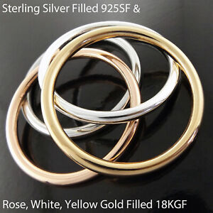 Bangle Real 18k Yellow White Rose Gold 925 Sterling Silver Solid Filled Bracelet