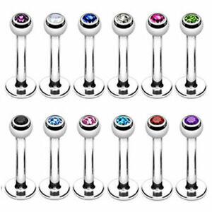 Surgical Steel Crystal Small Gem Labret Lip Bar Ear Stud Tragus Choose Size UK