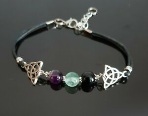 Triquetra Crystal Healing Bracelet Anxiety, Depression, Pagan Wicca Jewellery
