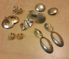 Earring Lot, 11 Pairs of Metal Earrings, Clips and Pierced, Vintage to Modern
