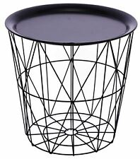 Black Metal Geometric Wire Occasional Side Table ~ Modern Storage Table With Lid