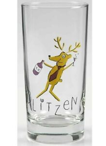 Pottery Barn Reindeer Blitzen Glass Tumbler 10 Oz. Christmas Retired