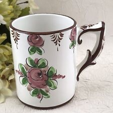 Coffee Cup Tea Mug Portuguese Pottery Portugal Red Floral >>> CRAZED <<<