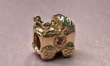 PANDORA | 14K GOLD PINK SAPPHIRE BABY CARRIAGE CHARM ✪NEW✪ 750409PSA RETIRED ALE