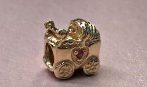 PANDORA   14K GOLD PINK SAPPHIRE BABY CARRIAGE CHARM ✪NEW✪ 750409PSA RARE PRAM