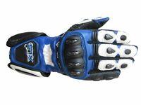 XLS Motorradhandschuhe hochwertige Lederhandschuhe Blau Schwarz Weiß Gr. S - 3XL