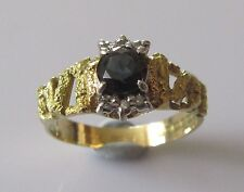 Vintage 18ct Yellow Gold Sapphire Diamond Cluster Ring Size P.