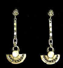 Argento Sterling Bianco Madreperla egiziano 1920 S Fan lunga Dangle Earrings