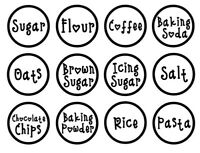 Household Labels, Kitchen, Pantry, Vinyl Personalised, pack of 12