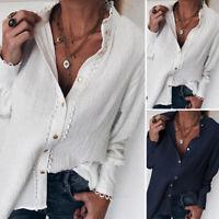 Mode Femme Haut Col à volants Manche Longue Bouton Coton Loisir Chemise Shirt
