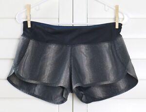 LULULEMON Athletica Metallic Sparkle Stripe Pull On Speed Shorts Size 4 US XS