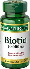 Nature's Bounty Ultra Strength Biotin 10 000mcg 120 Softgels Hair Skin Nails X2
