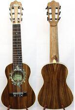 Solid Acacia Koa Classical Head Tenor Guitarlele Sun Abalone Inlay, Case, HU1239