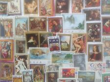 100 Different Paintings/Art on Stamps Collection