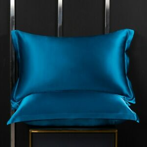 A Pair Of 100% Pure Mulberry Silk On Both Sides 19 Momme Pillow Case Blue