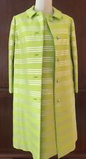 Abe Schrader Dress Suit/ Coat Lime Green Silver Stripe Rhinestone Buttons sz 14