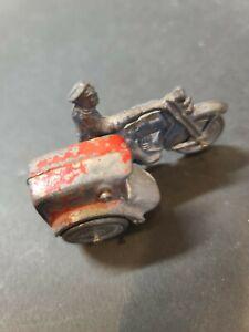 1930's Vintage Lead Slush Mold Delivery Or Police Motorcyle & Side Car Barclay