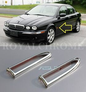 US STOCK Pair Bright CHROME Side Marker Lamp Indicator Trims for Jaguar X-TYPE