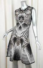 HERVE LEGER Gray ALEXIS Jacquard Studded Fit+Flare A-Line Dress $2950 S NEW
