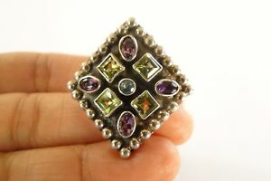 Purple Amethyst Green Peridot Blue Topaz Sterling Silver Ring Size 6 1/2, 6 3/4