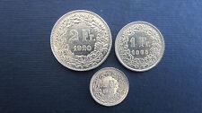Lot pièces de monnaie suisse 2 francs 1920, 1 FR, 1965 et 1/2 FR 1966 en vz-st (167)