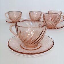 Set Of 5 Vintage Arcoroc Rosaline Pink Swirl Glass Tea Cups Saucer-France