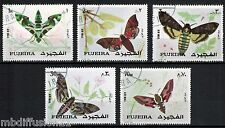 1972--FUJEIRA--SERIE DE 5 TIMBRES OBL.--PAPILLONS--BUTTERFLIES