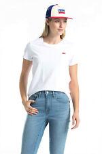 Levi's Women T-Shirt White Cotton The Perfect Tee Casual Gym Fashion 39185-0006