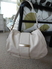 Large Banana Republic Off White Leather Shoulder Handbag Purse Hobo w/ Cloth Bag