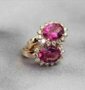 14K Rose Gold Finish 5Ct Oval Cut Red Ruby Diamond Drop & Dangle Earrings