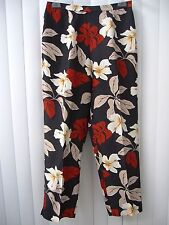PAPELL 100% SILK FLORAL PANTS PETITE SIZE 12P BLACK RED FLORAL BAND SUMMER